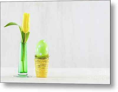 Single Easter Egg In A Pot. Metal Print