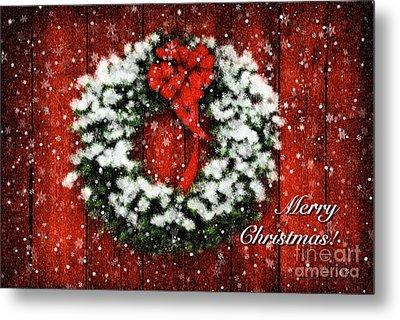Snowy Christmas Wreath Card Metal Print by Lois Bryan