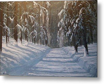 Metal Print featuring the painting Snowy Road by Ken Ahlering