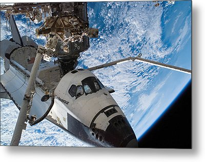 Space Shuttle Endeavour, Docked Metal Print by Stocktrek Images