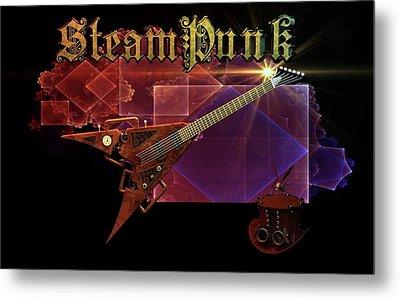 Metal Print featuring the digital art Steampunk Guitar by Louis Ferreira