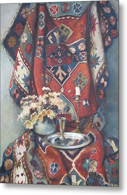 Metal Print featuring the painting Still-life With An Old Rug by Tigran Ghulyan