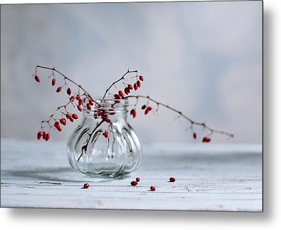 Still Life With Red Berries Metal Print by Nailia Schwarz