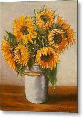 Sunflowers Metal Print by Nina Mitkova