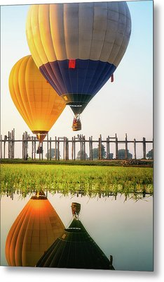 Sunrise At U Bein Bridge Metal Print by Anek Suwannaphoom