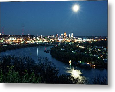 Super Moon Cincinnati River Metal Print