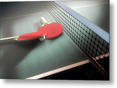 Table Tennis Table And Paddles Metal Print by Allan Swart