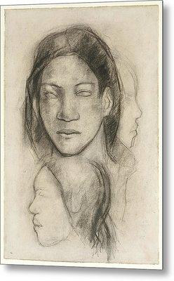 Tahitian Faces Metal Print by Paul Gauguin