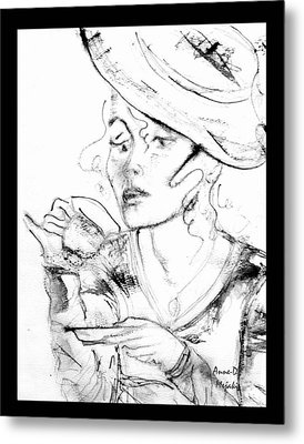 Tea Party Girl Metal Print by Anne-D Mejaki - Art About You productions