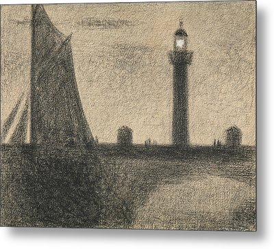 The Lighthouse At Honfleur Metal Print by Georges-Pierre Seurat