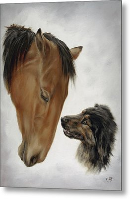 Metal Print featuring the painting Trail Mates by Cathy Cleveland