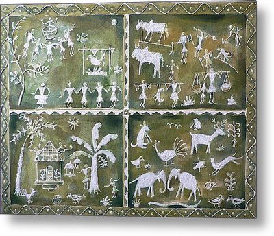 Metal Print featuring the painting Tribal Art by Geeta Biswas