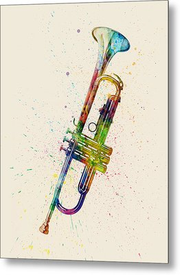 Trumpet Abstract Watercolor Metal Print