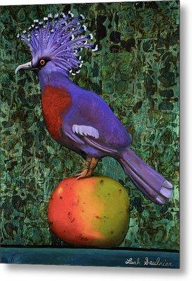 Victoria Crowned Pigeon On A Mango Metal Print