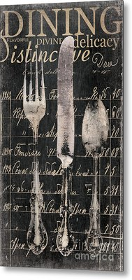 Vintage Dining Utensils In Black  Metal Print by Grace Pullen