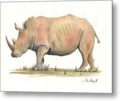 White Rhino Metal Print by Juan Bosco