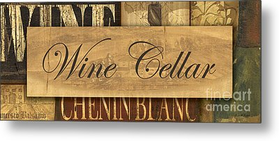 Wine Cellar Collage Metal Print