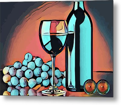 Wine Glass Bottle And Grapes Abstract Pop Art Metal Print