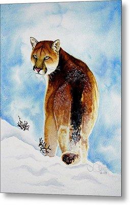 Winter Cougar Metal Print