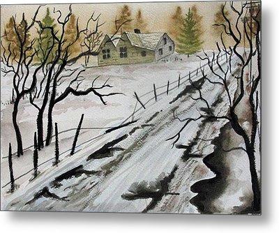 Winter Farmhouse Metal Print by Jimmy Smith
