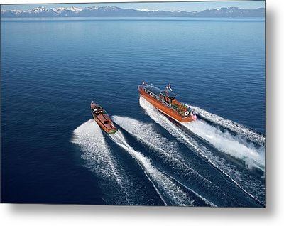 Wooden Boat Aerial Metal Print by Steven Lapkin