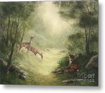 Metal Print featuring the painting Woodland Surprise by Cathy Cleveland