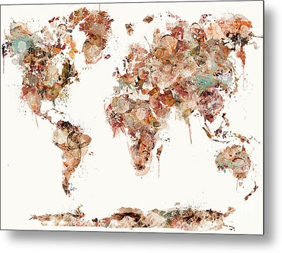 Metal Print featuring the painting World Map Watercolors by Bri B