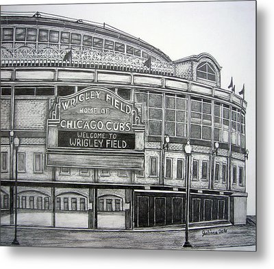 Wrigley Field Metal Print by Juliana Dube