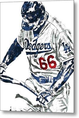 Yasiel Puig Los Angeles Dodgers Pixel Art Metal Print