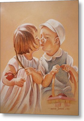 Metal Print featuring the painting Young Love  by Melinda Saminski