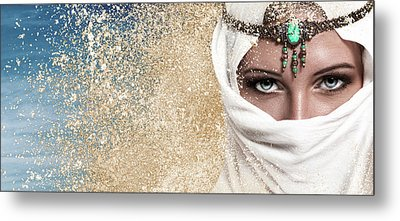 Young Woman Arabic Style Fashion Look Metal Print by IPolyPhoto Art