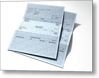 Income Inequality Paychecks Metal Print by Allan Swart