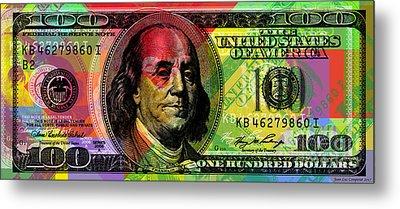 Benjamin Franklin - Full Size $100 Bank Note Metal Print