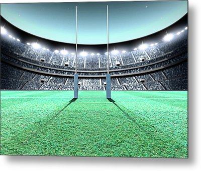 Floodlit Stadium Night Metal Print by Allan Swart
