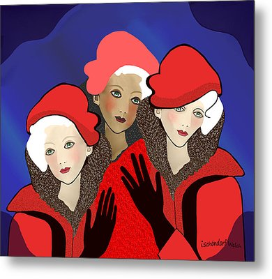 1391 - Three Chicks In Red 2017 Metal Print by Irmgard Schoendorf Welch