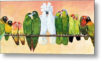 14 Birds On A Stick Metal Print
