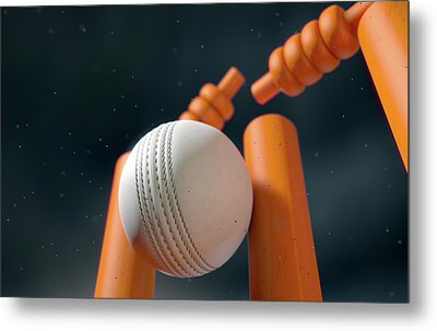 Cricket Ball Hitting Wickets Metal Print