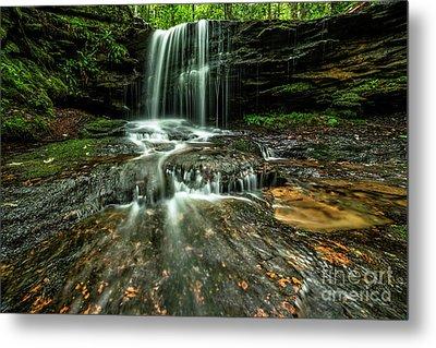 Lin Camp Branch Waterfall Metal Print by Thomas R Fletcher