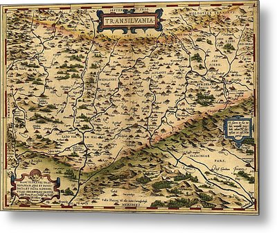1570 Map Of Transylvania, Now Metal Print by Everett