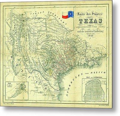 1849 Texas Map Metal Print by Jon Neidert