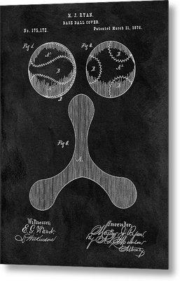1876 Baseball Drawing Patent Metal Print