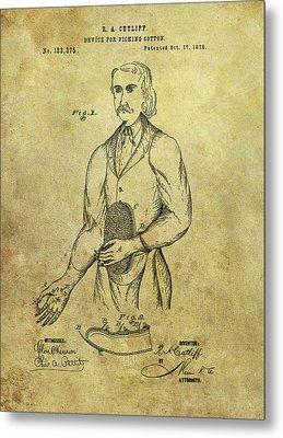 1876 Cotton Picking Patent Metal Print