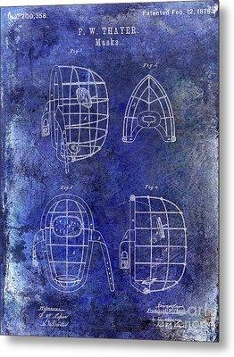1878 Catchers Mask Patent Blue Metal Print