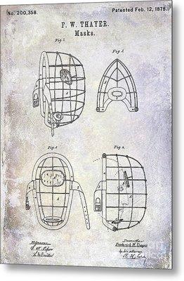 1878 Catchers Mask Patent Metal Print