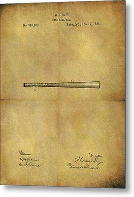 1884 Baseball Bat Illustration Metal Print