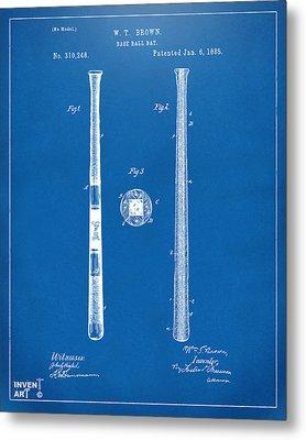 1885 Baseball Bat Patent Artwork - Blueprint Metal Print by Nikki Marie Smith