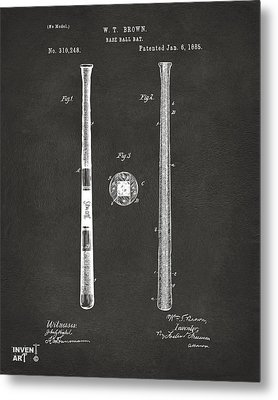 1885 Baseball Bat Patent Artwork - Gray Metal Print