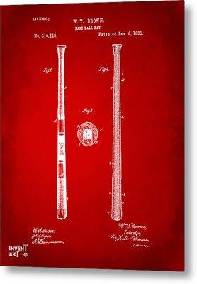 1885 Baseball Bat Patent Artwork - Red Metal Print by Nikki Marie Smith