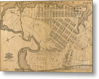 Metal Print featuring the photograph 1885 Inwood Map  by Cole Thompson