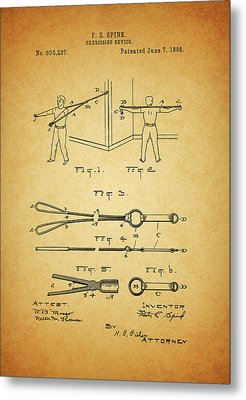 1898 Exercising Device Patent Illustration Metal Print